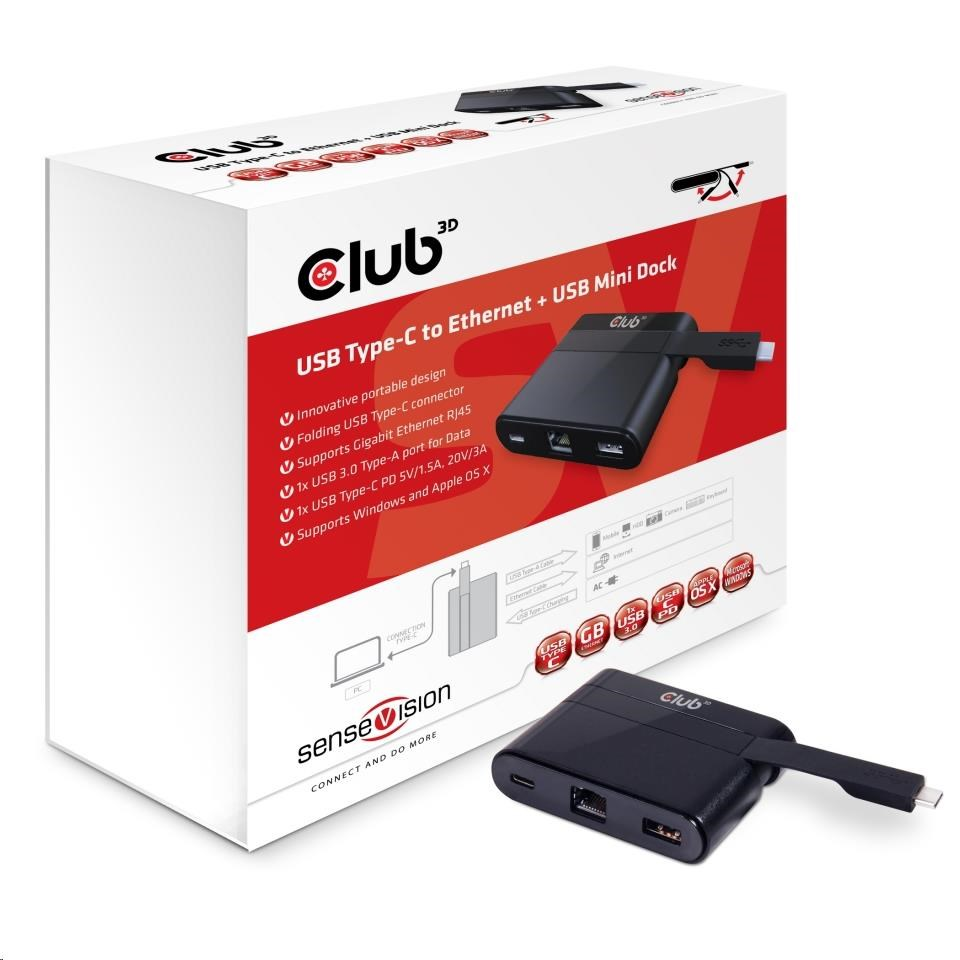 Club3D mini dokovací stanice USB 3.0 typ C (Ethernet/USB 3.0/USB-C)