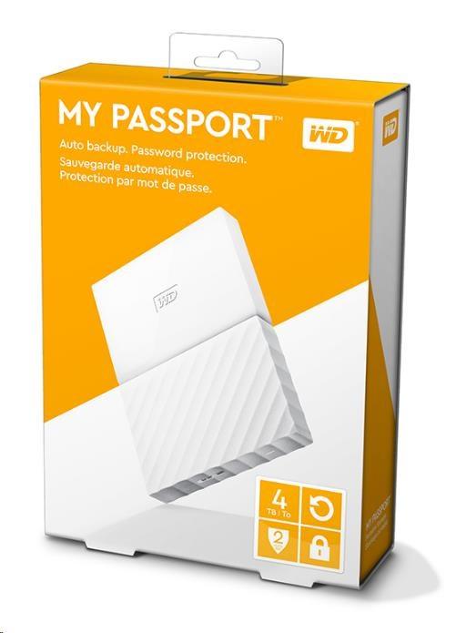 """WD My Passport 4TB Ext, 2,5"""" USB3.0, WHITE (WDBYFT0040BWT-WESN)"""