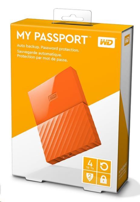 """WD My Passport 4TB Ext, 2,5"""" USB3.0, ORANGE (WDBYFT0040BOR-WESN)"""