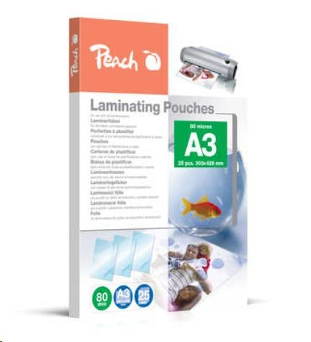 Peach Laminating Pouch A3 (303x426mm), 80mic, PPR080-01