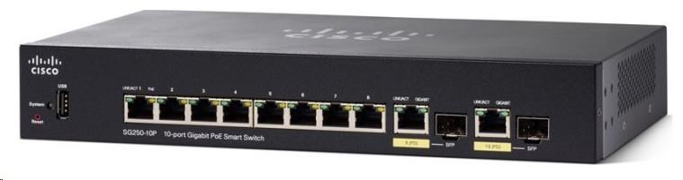 Cisco switch SG250-10P, 8x10/100/1000, 2xGbE SFP/RJ-45, PoE