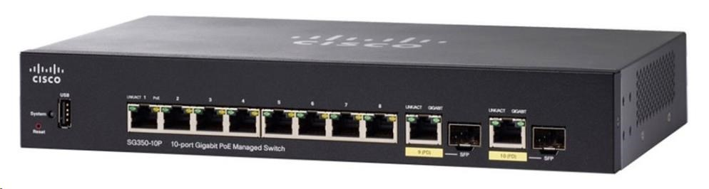 Cisco switch SG350-10P, 8x10/100/1000, 2xGbE SFP/RJ-45, PoE