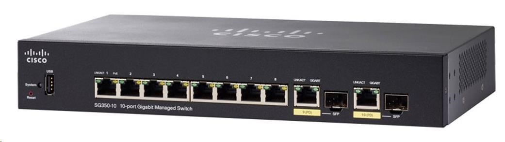 Cisco switch SG350-10, 8x10/100/1000, 2xGbE SFP/RJ-45