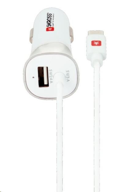 SKROSS USB Car Charger & Type-C nabíjecí autoadaptér, integrovaný kabel + 1x USB výstup navíc, 5400mA max.