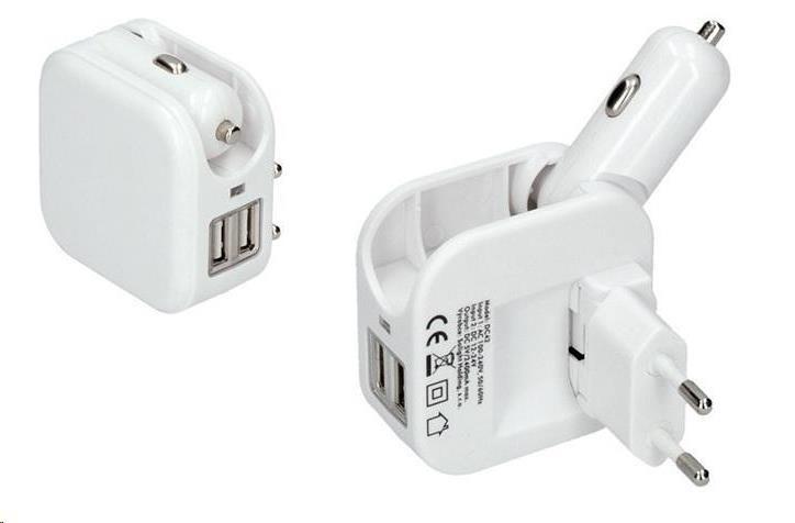 Solight USB nabíjací adaptér auto+zásuvka, 2x USB, max. 2400mA, AC 230V / DC 12V, biely