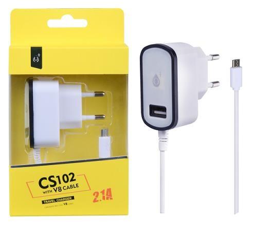 PLUS síťová nabíječka CS102, konektor micro USB + 1x USB, 2,1 A, bílá s černým okrajem (2000072)