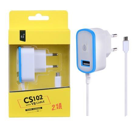 PLUS síťová nabíječka CS102, konektor micro USB + 1x USB, 2,1 A, bílá s modrým okrajem (2000075)