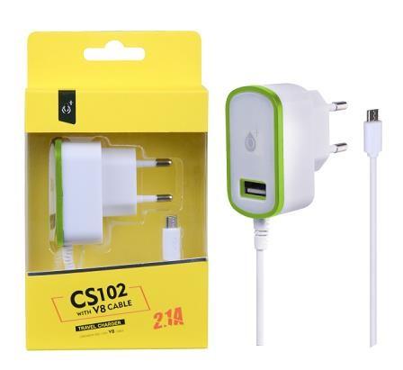PLUS síťová nabíječka CS102, konektor micro USB + 1x USB, 2,1 A, bílá se zeleným okrajem (2000077)