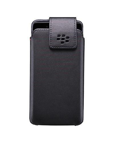 BlackBerry pouzdro kožené pro BlackBerry DTEK50, klip s otočným čepem, černá (ACC-63005-001)