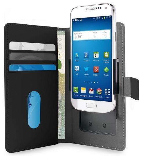 """Puro flipové pouzdro s nastavitelnými konzolami a přihrádkou na karty pro zařízení 4,7"""" (velikost L), černá (UNIWALLET3BLKL)"""