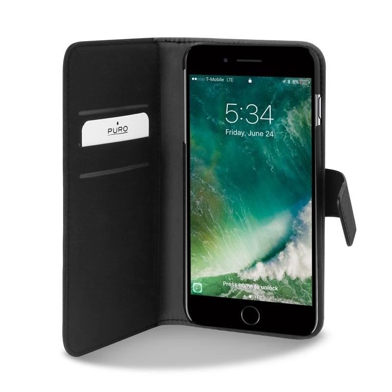 Puro flipové pouzdro s přihrádkou na kartu a zadní kryt pro Apple iPhone 7 Plus / iPhone 8 Plus,