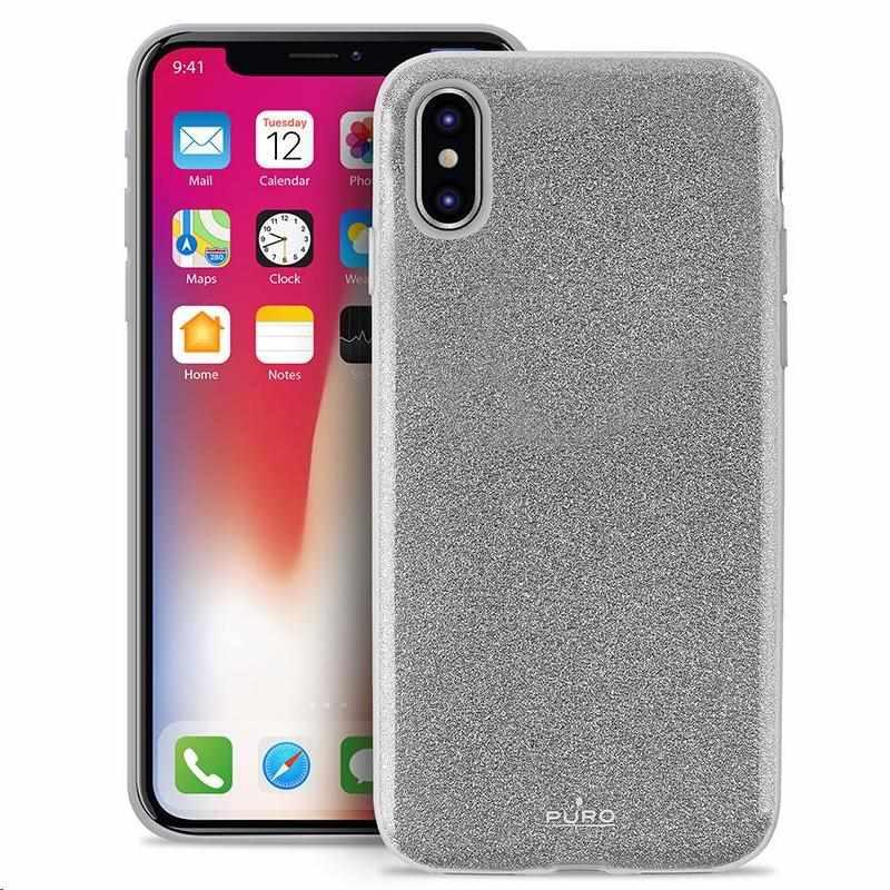 """Puro zadní kryt """"SHINE"""" pro Apple iPhone X, stříbrná (IPCXSHINESIL)"""