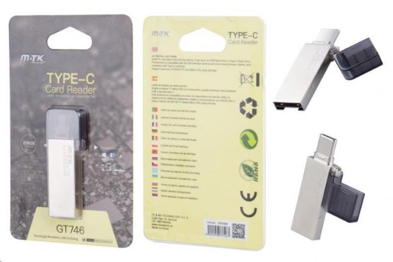 PLUS čtečka paměťových karet GT746, USB-C, micro SD