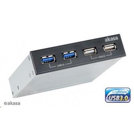 "AKASA HUB USB  InterConnect S, do 3,5"" pozice, 2x USB 2.0, 2x USB 3.0"
