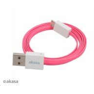 AKASA kabel PROSLIM USB, male A na micro B male USB 2.0, 100cm, růžový