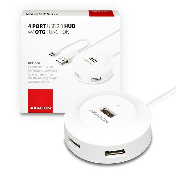 AXAGON - HUE-X6G 4x USB2.0 hub 80cm cable + micro USB OTG WHITE