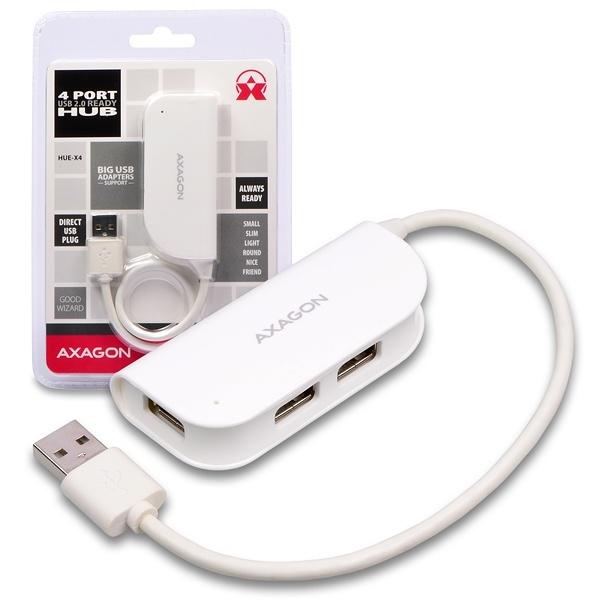 AXAGON - HUE-X4 externí 4x USB2.0 READY WHITE hub