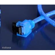 AKASA kabel SATA3 datový kabel k HDD,SSD a optickým mechanikám, zahnutý konektor, modrý UV svítící, 1m