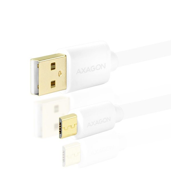 AXAGON - BUMM-AM02QW, HQ Kabel Micro USB <-> USB A, datový a nabíjecí 2A, bílý, 0.2 m