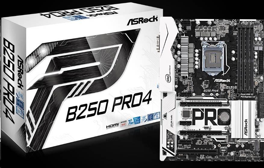 ASRock MB Sc LGA1151 B250 Pro4, Intel B250, 4xDDR4, VGA