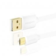 AXAGON - BUMM-AM20QW, HQ Kabel Micro USB <-> USB A, datový a nabíjecí 2A, bílý, 2 m