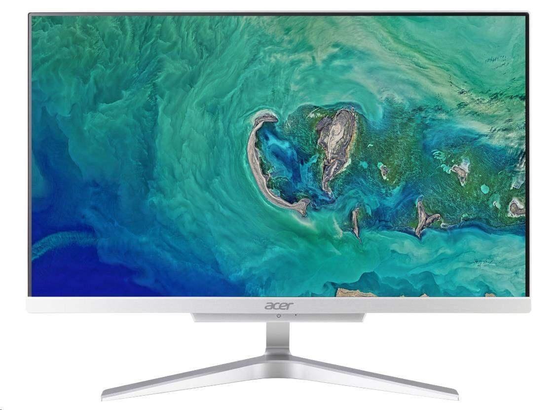 """ACER PC AiO Aspire C22-865 - i3-8130U@2.2GHz, 21.5"""" FHD,4GB,1TBHDD54,noDVD,Intel HD 620,USB3.1,kl+mys,stříbrný"""