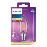 PHILIPS LED žárovka svíčková B35 230V 4,3W E14 noDIM Čirá 470lm 2700K Sklo A++ 15000h (Blistr 1ks)