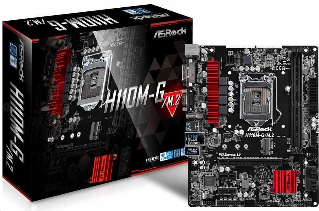 ASRock MB Sc LGA1151 H110M-G/M.2, Intel H110, 2xDDR4, VGA, mATX