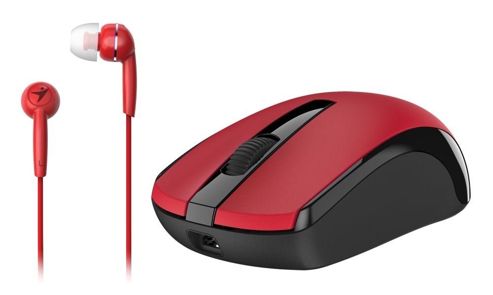 GENIUS myš MH-8100 bezdrátová dobíjecí + HEADSET ZDARMA/ červená