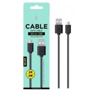 PLUS datový a nabíjecí kabel (AS108), Micro USB 2A, 2 m, černá
