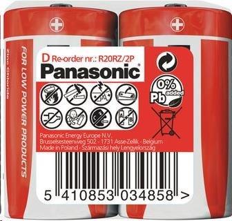 PANASONIC Zinkouhlíkové baterie - Red Zinc D 1,5V - 2ks