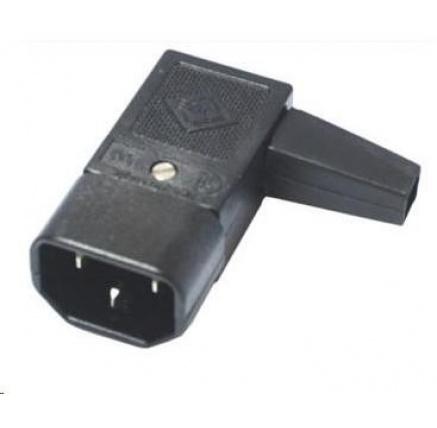 PREMIUMCORD Konektor napájecí 230V na kabel (samec, IEC C14), úhlový
