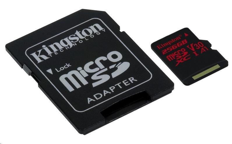 Kingston 256GB microSD XC Canvas React Card, 100R 80W UHS-I V30 A1 + SD adaptér