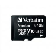 VERBATIM MicroSDXC karta 64GB Premium, U1 + adaptér