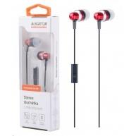 Aligator stereo sluchátka AE01 s mikrofonem, 3,5 mm jack, červená