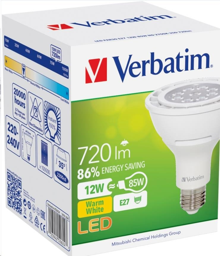 VERBATIM LED žárovka,LED PAR38 E27 15W-116W ND 2700K 1000LM 35D