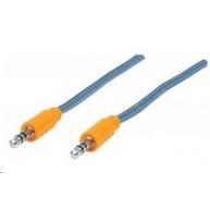 MANHATTAN Kabel Jack 3,5mm, propojovací 1,8m (M/M), opletený (modrá/oranžová)
