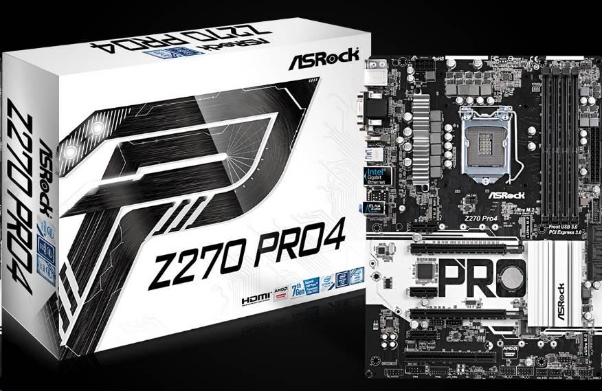ASRock MB Sc LGA1151 Z270 Pro4, Intel Z270, 4xDDR4, VGA