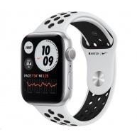 Apple Watch Nike Series 6 GPS, 44mm stříbrné hliníkové pouzdro + platinový/černý Nike sport řemínek - Rozbaleno