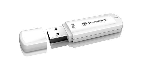 TRANSCEND USB Flash Disk JetFlash®370, 4GB, USB 2.0, White (R/W 13/4 MB/s)