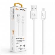Aligator datový a nabíjecí kabel, konektor micro USB, 2A, 2m, bílá