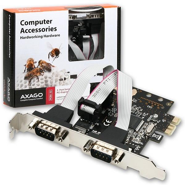AXAGON PCEA-S2, PCI-Express adapter 2x seriový port + LP