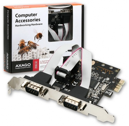 AXAGON PCEA-S2, PCI-Express adapter 2x seriový port + LP