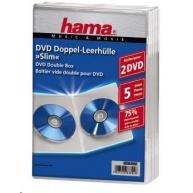 Hama obal na 2 DVD Slim, transparentný, 5 ks