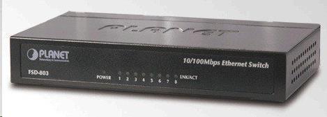 """Planet FSD-803 SWITCH 8X10/100BASE-TX, 10"""", KOV, DESKTOP"""