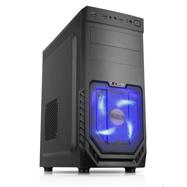 1stCOOL skříň JAZZ 2, Midi Tower, AU, USB 3.0, Blue FAN, bez zdroje, Black