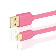 AXAGON - BUMM-AM05QP, HQ Kabel Micro USB <-> USB A, datový a nabíjecí 2A, růžový, 0.5 m