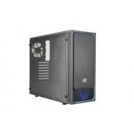 case Cooler Master MasterBox E500L, modrý rámeček + LED ventilátor, průhledný boční panel, ATX, 2x USB 3.0, bez zdroje