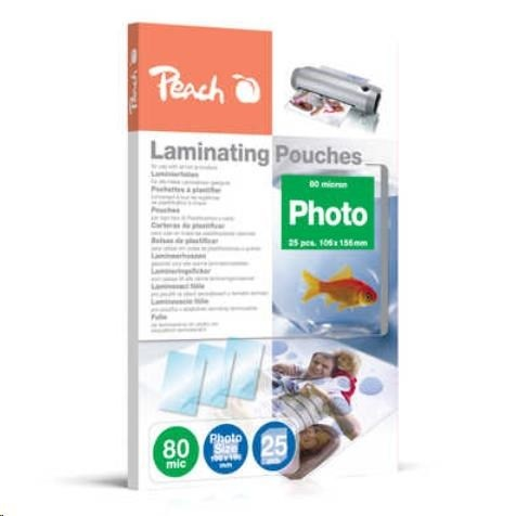 Peach Laminating Pouch Photosize 10x15 cm (106x156 mm), 80mic, S-PP080-20