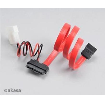 AKASA kabel SATA kombinovany kabel pro připojení slim DVD a BR mechanik, 40cm